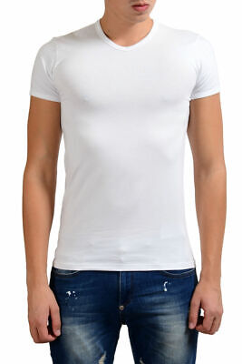 Versace Collection Men's White Stretch V-Neck Short Sleeve T-Shirt XS S M L XL