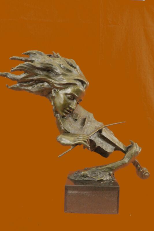 Signed Original Violin Player Art Deco Statue Figurine Bronze Sculpture Decor