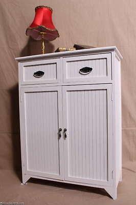 Landhauskommode Beistellschrank Schuhschrank 2 Schubladen Flügeltüren Weiß