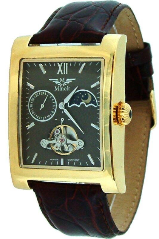 Minoir Uhren Modell Lagoon gold/braun Automatikuhr Herrenuhr Lederuhrband