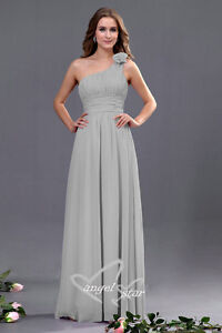 Bridesmaid One Shoulder with Flower Wedding Evening Party Prom Dress size 8 - 20