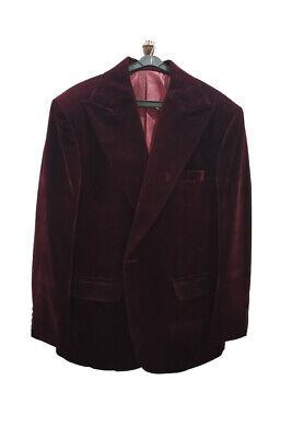 Hombre Burdeos de Diseño Boda Novios Informal Elegante Terciopelo Coats Chaqueta