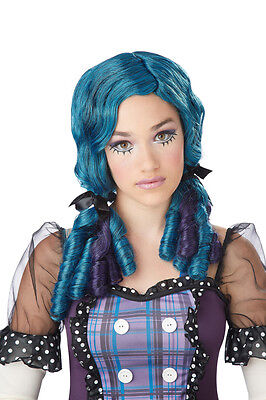 Doll Curls Japanese Anime  Child Costume Wig - White or Teal - Teal Wig