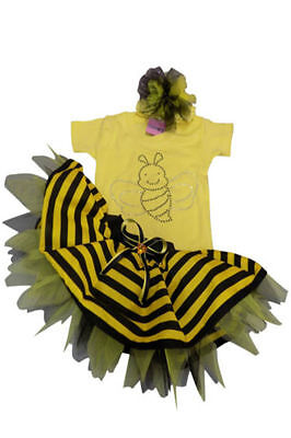 Bumble Bee Tutu (BUMBLE BEE TUTU SKIRT FANCY DRESS RHINESTONE TOP BABY TODDLER CAKE SMASH PARTY)