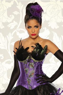 Burlesque Corsage Blau Lila M 2XL Kostüm Fasching - Blaue Halloween Kostüme