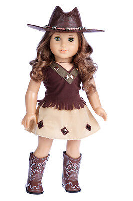 Cowgirl - Western Outfit for 18 inch Doll, Cowboy Boots,  Hat, Blouse, Skirt - Western Cowboy Outfits