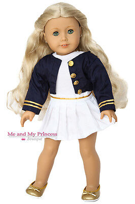 Nautical JACKET + TOP + SKIRT + SHOES for 18 inch American Girl Doll Clothes
