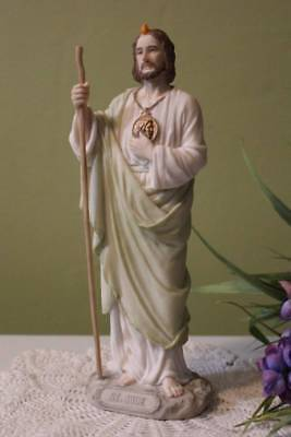 St. Jude Statue 8 inch Figurine Heavy Cold Cast Resin Soft Subtle -