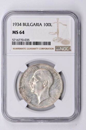 1934 Bulgaria 100 Leva NGC MS 64 Witter Coin