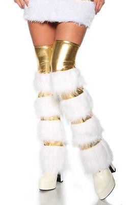 ATX 13139 Bein Stulpen Strümpfe Leg Warmer Fasching Karneval Fell gold weiß