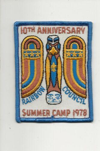 RAINBOW  COUNCIL / 1978 CAMP patch / 10th Anniversary - Boy Scout BSA A132/7-4
