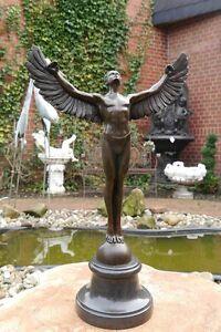 Bronze Skulptur Figur Engel Ikarus auf edlem Marmorsockel (2024)