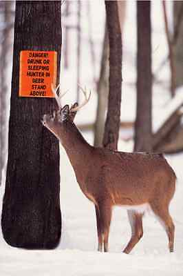 *FUNNY WARNING SIGN! HUNTERS DEER READ* METAL 8X12 MAN CAVE BAR HUNTING CABIN