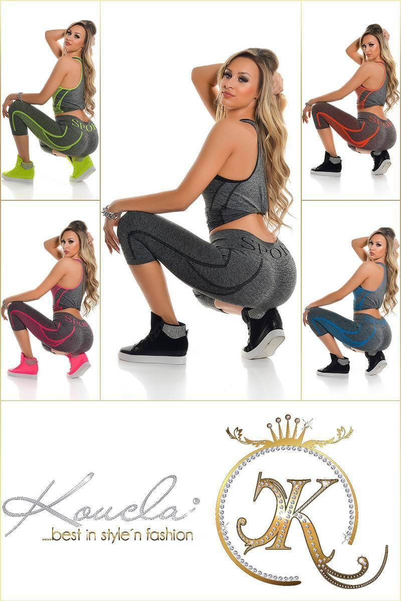 Workout Set KouCla Damen 2-teiliges Outfit TankTop+Leggings Jogging Fitness