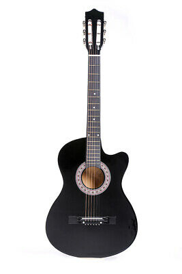 "38"" Acoustic Guitar Hollow Cutaway Design With Guitar Case,Strap,Tuner Black"