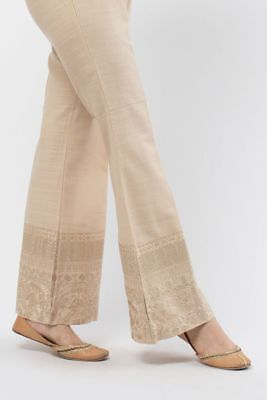 Pakistani Designer KHAADI 100% original BEIGE BOOT CUT embroidered pants size 12