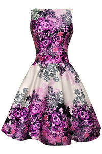 Lady V London 50's Retro Vintage Purple Rose Floral ...