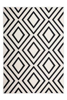 Teppich Rauten Viereck Muster Modern Skandi Design Schwarz Weiß Grau Elfenbein - Schwarz Elfenbein Teppich