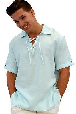 Mens Bohio 100% Cotton-Gauze B. Blue Shoe Lace Collar Casual Shirt (S~XL)-MCS201