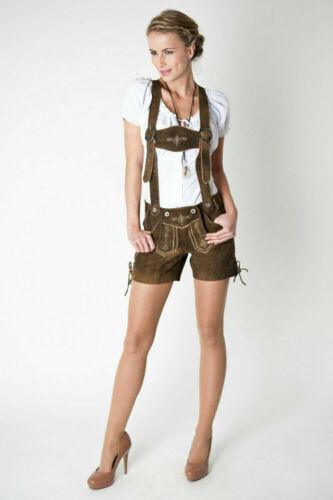 Ladies Lederhosen German Bavarian Short Length - Oktoberfest Genuine Leather