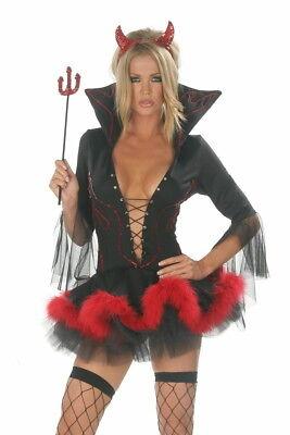 Schwarzer Teufel Halloween-kostüme (Teufel Kostüm Kleid Gr.M 36-38 schwarz rot Halloween Karneval Hörner Dreizack)