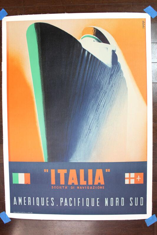 """Italia - Societa di Navigazione - Art by Giovanni Patrone (1948) 26.75"""" x 37...."""