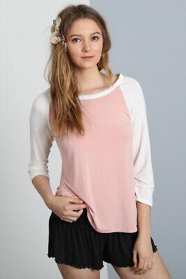 Women's 3/4 Sleeve Striped Raglan T-Shirt Tee Top - POL Clothing