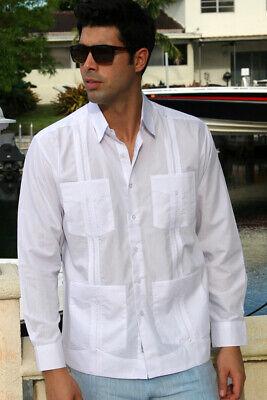 - Mens Bohio Cotton White Cuban Guayabera Classic 4-Pkt L/S Shirt (S ~2X)-MTCG1511