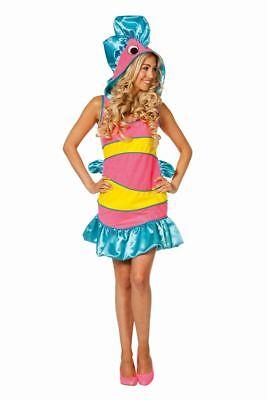 FFF - Damen Kostüm tropischer Fisch in rosa Karneval Fasching