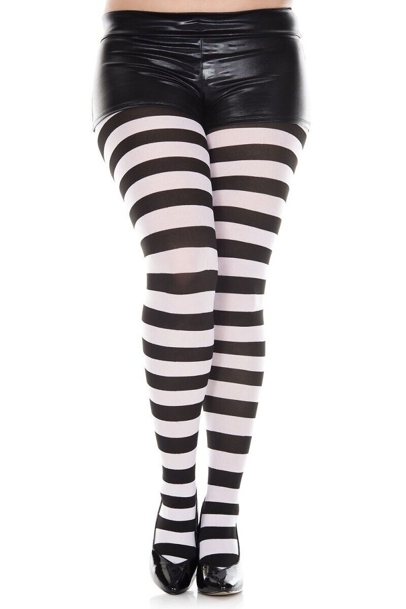 c8327ac25701a Music Legs 7419Q-BLACK-WHITE Plus Size Wide Striped Tights Black & White