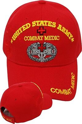 US Army COMBAT MEDIC Ball Cap EMT 68W 91W 91A Infantry Airborne Ballcap Hat RED