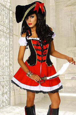 Sexy Piratenkostüm mit Hut 2-tlg. Halloween Fasching Karneval Gr. S/M