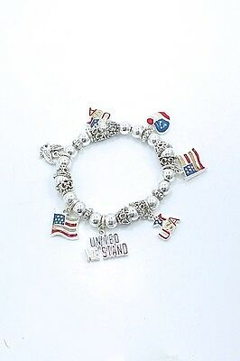 USA America Theme Charm Silver Plated Small Bead Stretch Bracelet