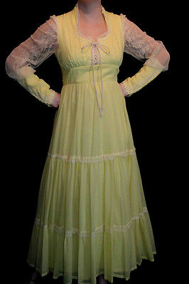 S~M VTG 1970s MAXI DRESS YELLOW LACE ZIPPER SLV CORSET 70s RENAISSANCE Festival