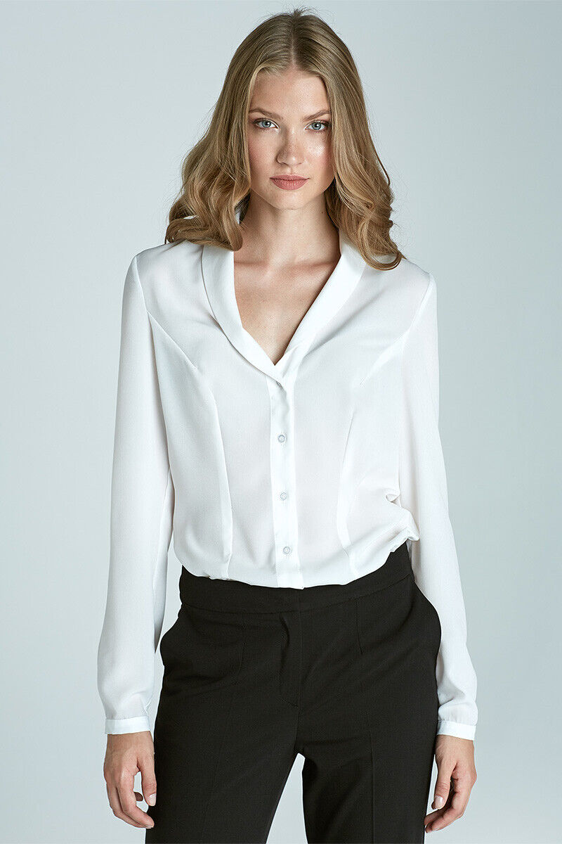 NIFE Damen Bluse Fashion-Kleidung Ecru