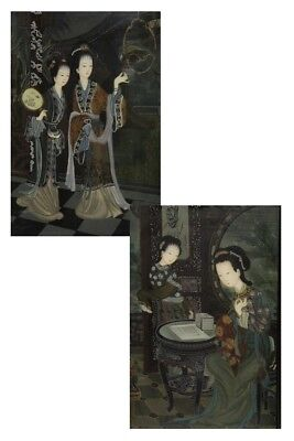 PAIR OF TECHNICAL MIXED ON PANEL,CHINESE,DATING NINETEENTH CENTURY/COUPLE