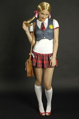 Kostüm Schulmädchen 2-tlg., sexy school girl Uniform Gr 34 36 38 - Sexy Schulmädchen Kostüm