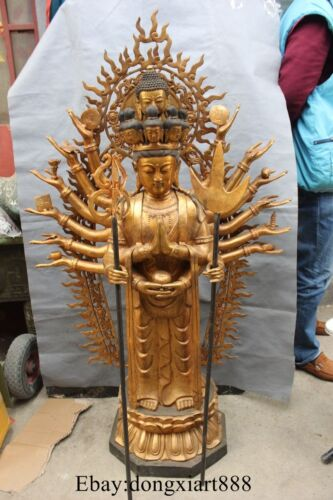 "35"" Old Chinese Bronze Gilt 18 Arms Avalokiteshvara Of Kwan-yin Goddess Statue"