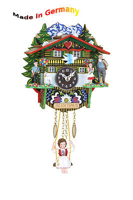 Black Forest Pendulum Clock with heidifigur, Made in Germany, Gift Idea