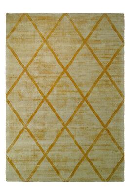 Berber Teppich 100% Viskose Handgewebt Retro Look Teppiche Kurzflorteppich Gelb