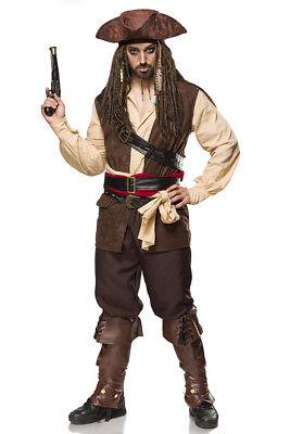 Kostümset Captain Jack  Piraten Seeräuber  Kostüm für Herren Fasching Karneval  (Captain Jack Herren Kostüme)