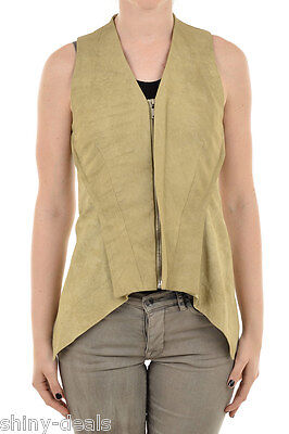 RICK OWENS Woman Sleeveless Jacket NASKA HALTER BIKER Gilet Vest Leather 40 it