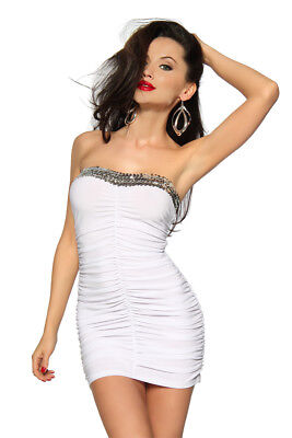 Minikleid mit Pailletten glamouröses Bandeaukleid Mini Silvester Outfit - Outfits Mit Kleidern