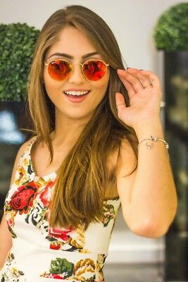 Ray Ban RB3447 Sale! Round Metal Gold frame Red flash Mirrored (Ray Ban Flash Sale)