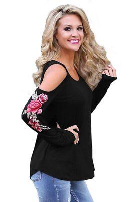 - Black Embroidered Rose Long Sleeve Cold Shoulder Top