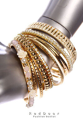 NEW With Tag Women Accessories Faux Pearl Rose Bangle Bracelets Gold Ivory White