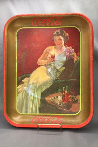 1936 Coca-Cola Tin Lithograph Advertising Serving Tray Glamour Girl
