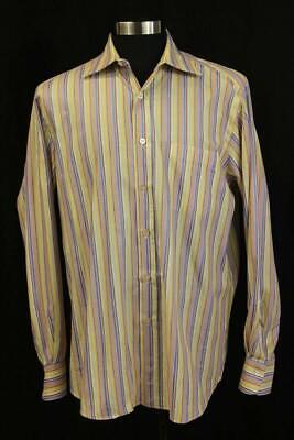 FINAMORE 1925 Napoli Bright Stripe Dress Shirt HAND STITCHED Wide Collar 16 41