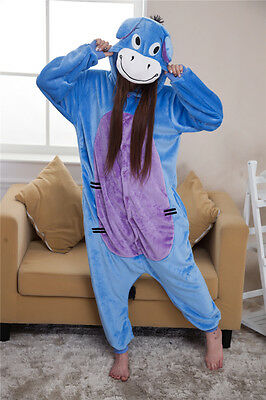 Women's Blue Donkey Cartoon Onesies Pyjamas Novelty Sleepwear Nightwear