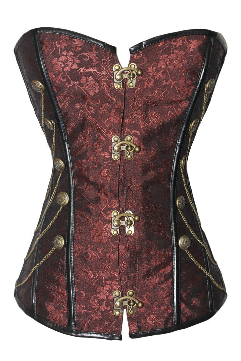 Brown Steampunk Brocade & Faux Leather Corset Chains Goth...